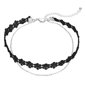 Black Floral Lace Double Strand Choker Necklace
