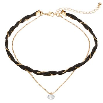 Braided Double Strand Choker Necklace