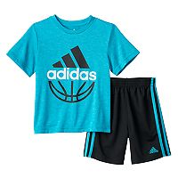 Baby Boy adidas Heathered Logo Basketball Tee & Shorts Set