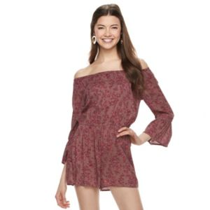 Juniors' Mudd® Print Off The Shoulder Romper