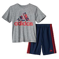 Baby Boy adidas Logo Heathered Tee & Shorts Set