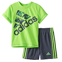 Baby Boy adidas Logo Graphic Tee & Striped Shorts Set
