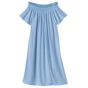 Girls 7-16 Love, Fire Smocked Off Shoulder Striped Dress