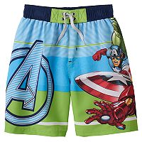 Boys 4-7 Marvel Avengers Ironman, Hulk & Captain America Swim Trunks