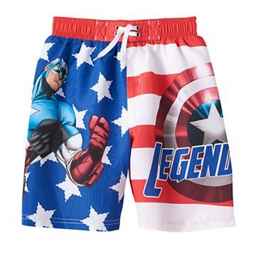 Boys 4-7 Marvel Captain America Stars & Stripes Swim Trunks