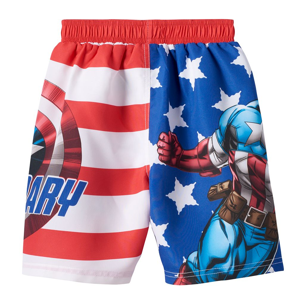 Boys 4-7 Marvel Captain America Stars & Stripes Swim Trunks