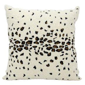 Mina Victory Lumin Beaded Leopard Ivory Throw Pillow