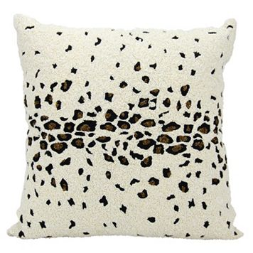 Mina Victory Lumin Beaded Leopard Ivory Throw Pillow