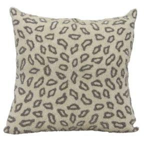 Mina Victory Lumin Beaded Leopard Pewter Throw Pillow