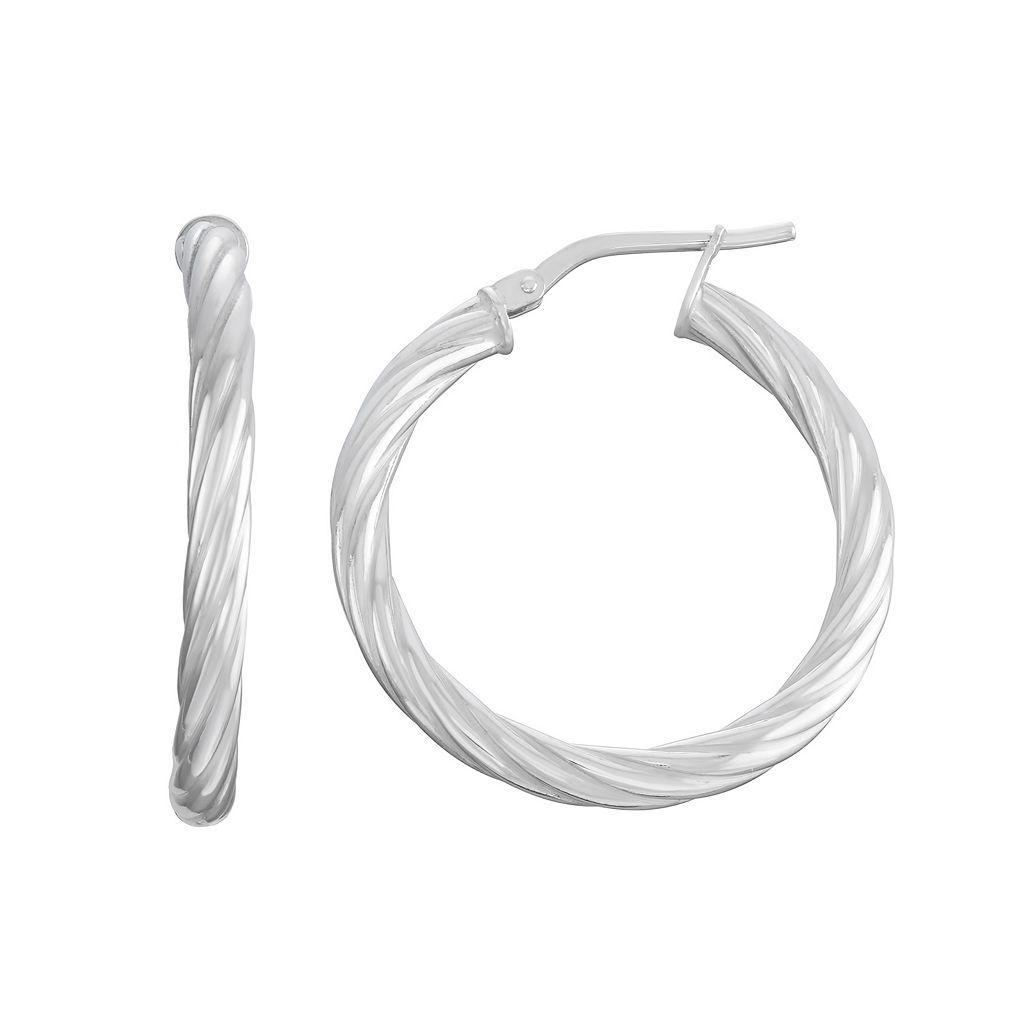 Sterling Silver Twist Tube Hoop Earrings