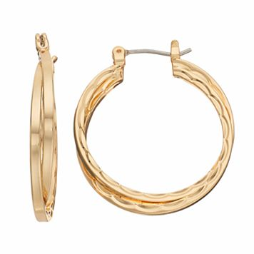 Napier Textured Crisscross Hoop Earrings