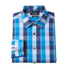 Men's Apt. 9® Slim-Fit Premier Flex Collar Plaid Stretch Dress Shirt