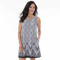 Women's AB Studio Print Lace-Up Shift Dress