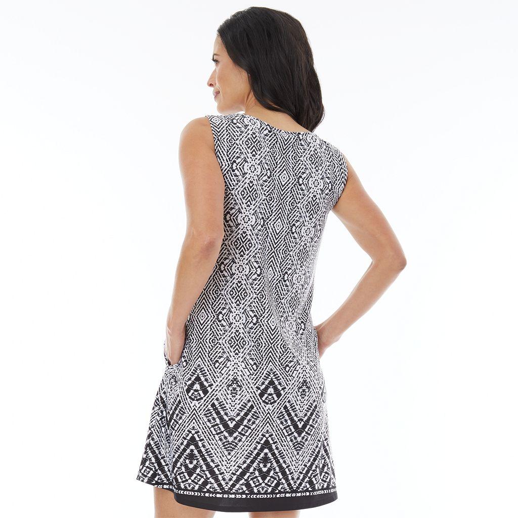 Women's AB Studio Print Lace-Up Shift Dress
