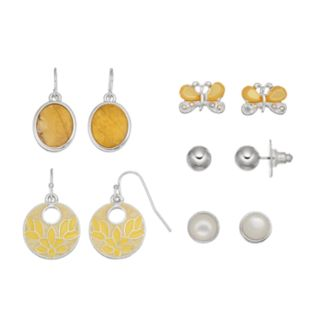 Yellow Butterfly & Round Earring Set