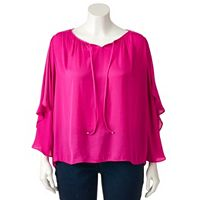 Plus Size Jennifer Lopez Bell Sleeve Peasant Top