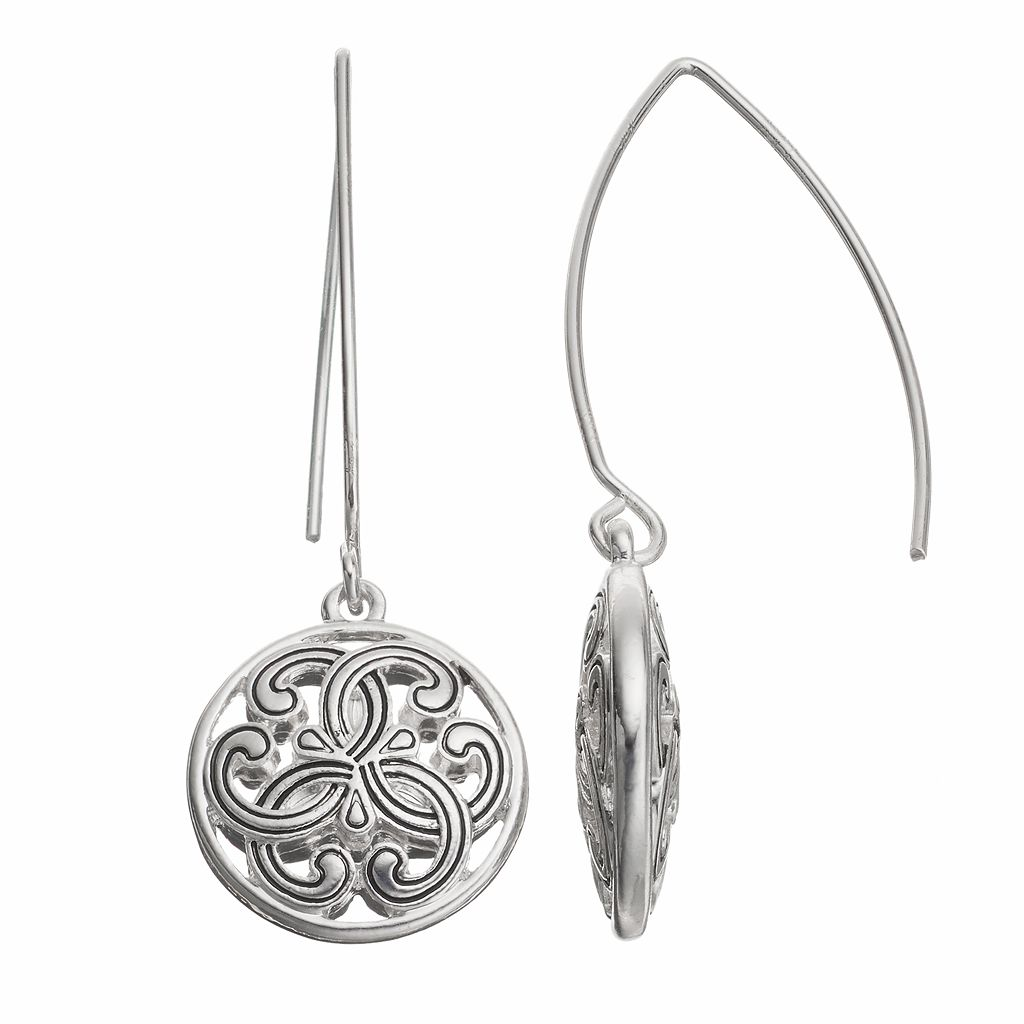 Napier Filigree Circle Drop Earrings