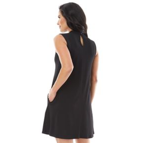 Women's AB Studio Solid Choker Swing Dress