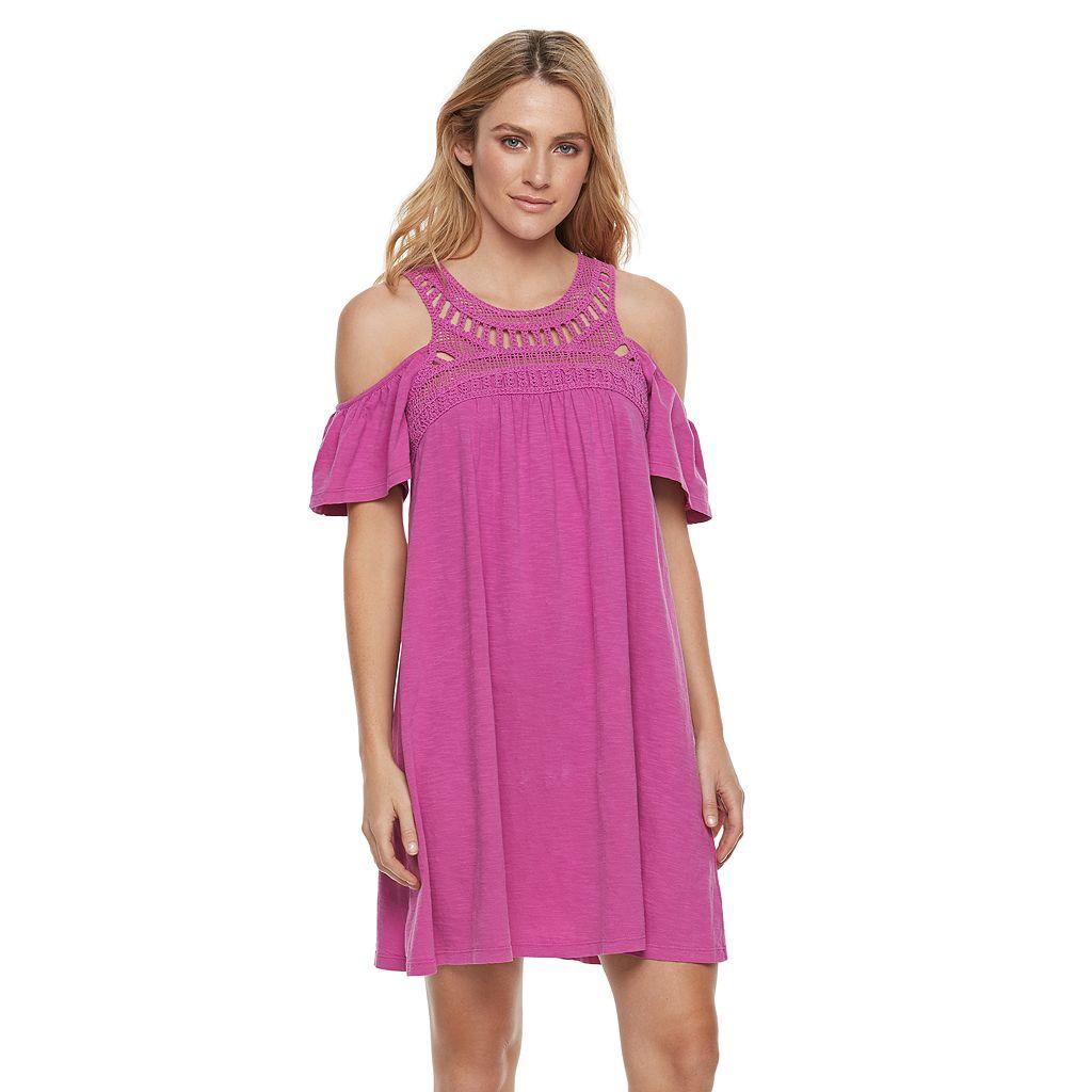 Women's SONOMA Goods for Life™ Cold-Shoulder Crochet Shift Dress
