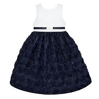 Girls 7-16 American Princess White Bodice Soutache Skirt Buckle Dress