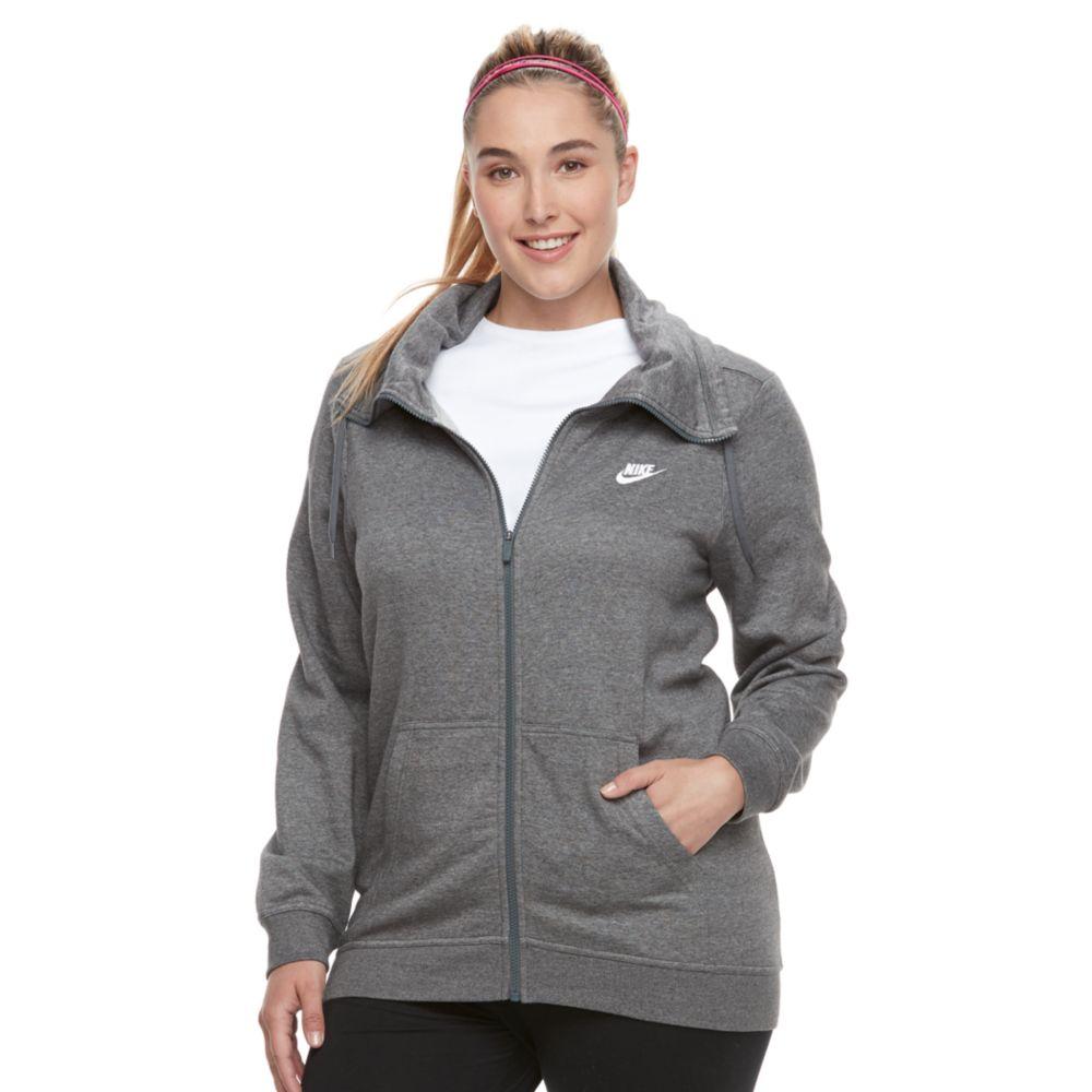 size nike club funnel neck zip-up hoodie
