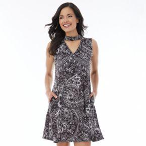 Women's AB Studio Paisley Choker Neck Swing Dress
