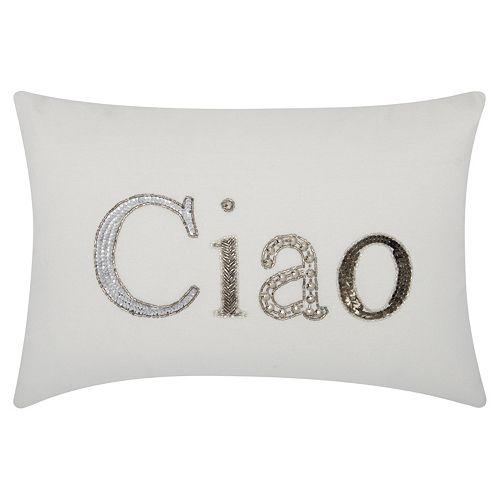 Mina Victory Lumin Beaded ''Ciao'' Oblong Throw Pillow