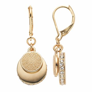 Napier Textured Disc Double Drop Earrings