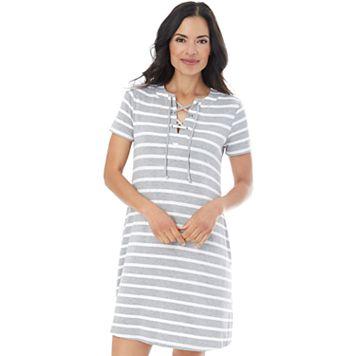 Women's AB Studio Striped Lace-Up Shift Dress