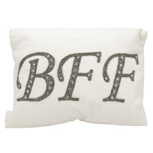 Mina Victory Lumin Beaded ''BFF'' Oblong Throw Pillow