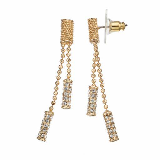 Napier Ball Chain Double Linear Drop Earrings
