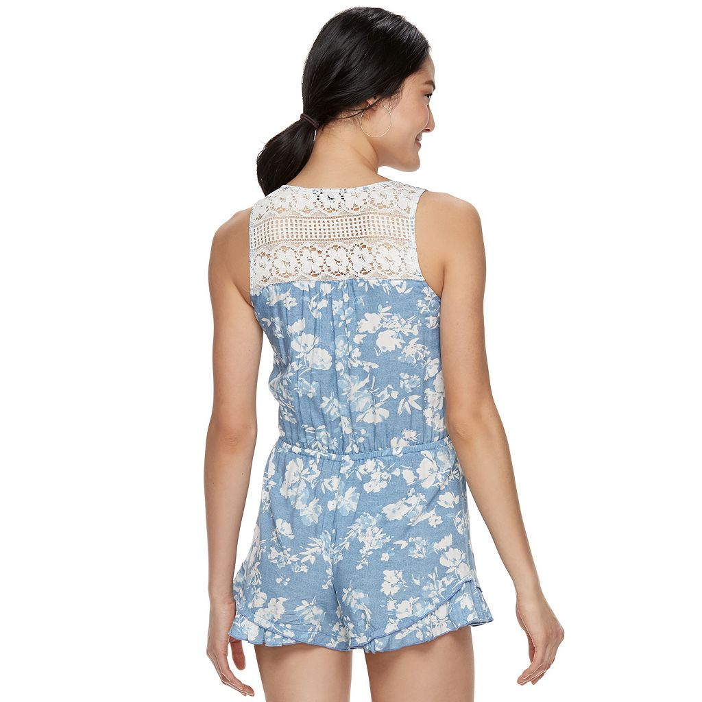 Juniors' Joe B Lace Back Romper