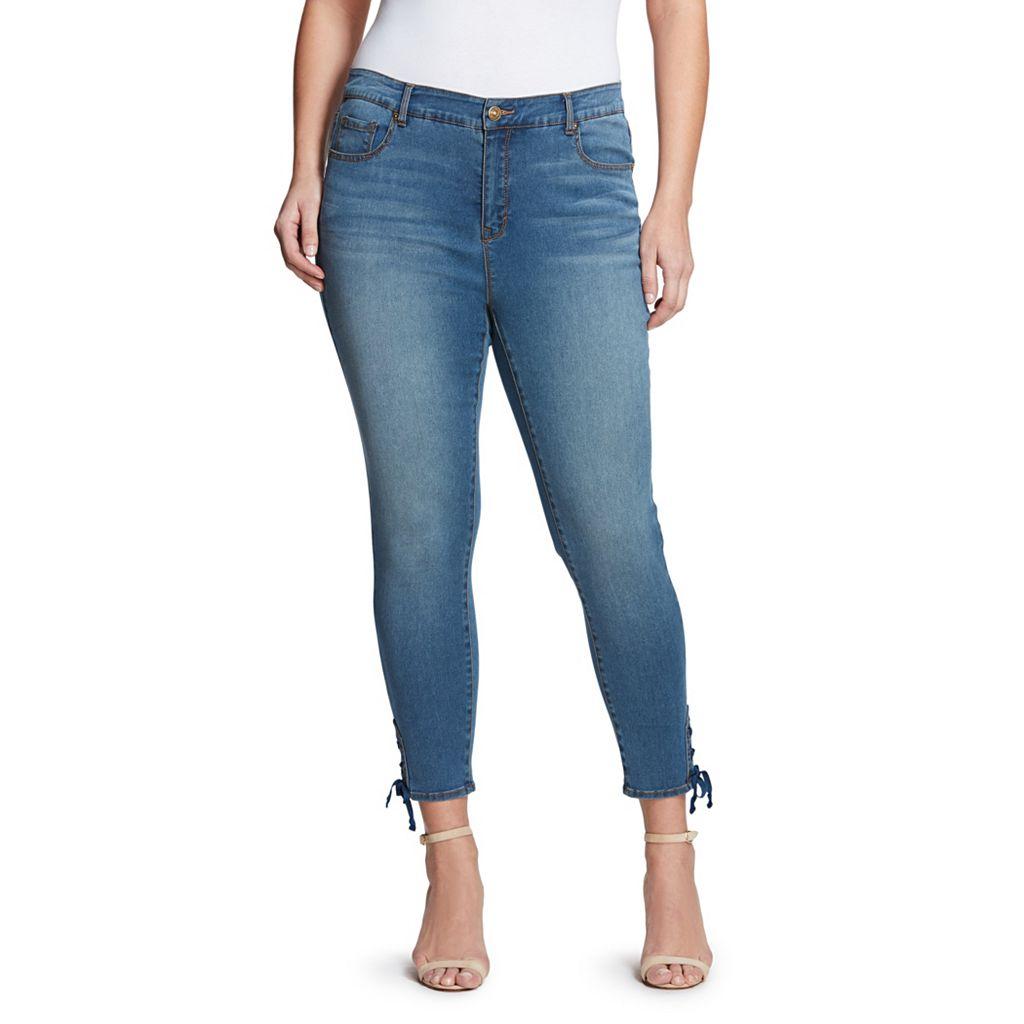Plus Size Gloria Vanderbilt Alexandra Lace-Up Skinny Ankle Jeans