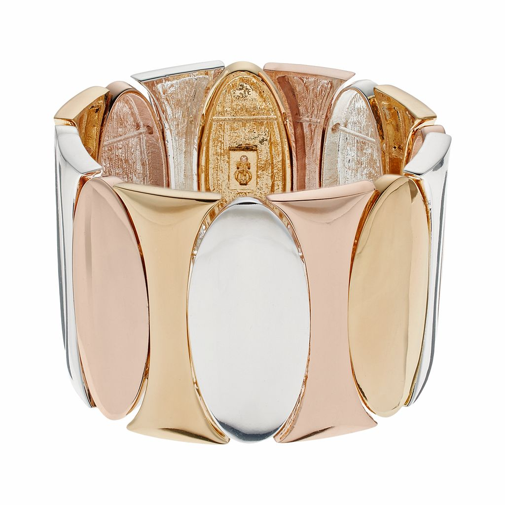 Jennifer Lopez Tri Tone Oval Stretch Bracelet