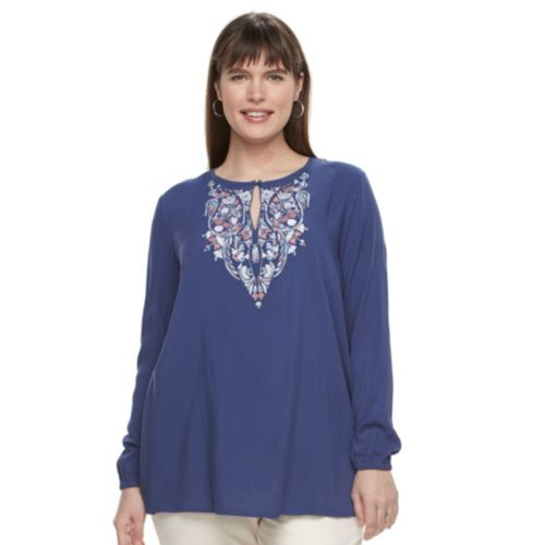 Plus Size Design 365 Embroidered Top