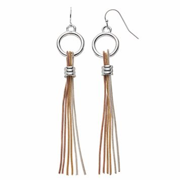 Jennifer Lopez Tri Tone Fringe Drop Earrings