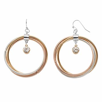 Jennifer Lopez Tri Tone Twisted Drop Hoop Earrings