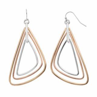 Jennifer Lopez Tri Tone Triangle Drop Earrings