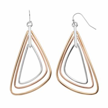 Jennifer Lopez Tri Tone Triangle Drop Earrings
