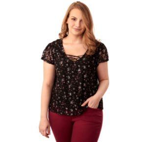 Juniors' Plus Size Wallflower Lace Swing Top