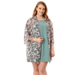 Juniors' Plus Size Wallflower Dress & Kimono Set