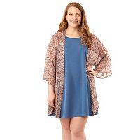 Juniors' Plus Size Wallflower Dress & Kimono Set