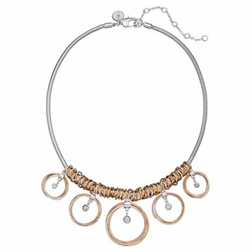 Jennifer Lopez Tri Tone Graduated & Twisted Circle Necklace