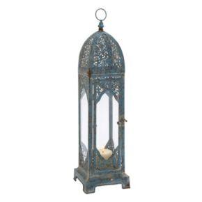 Blue Filigree Lantern Table Decor