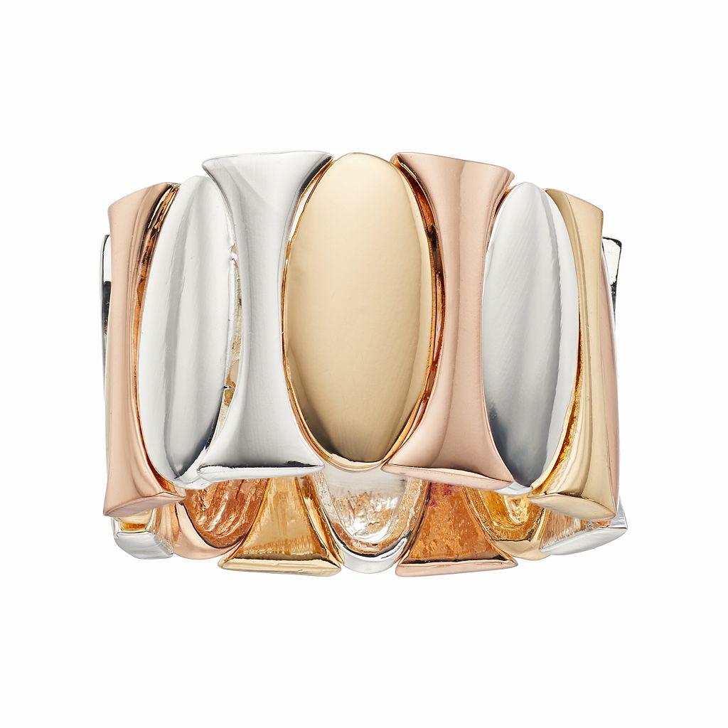Jennifer Lopez Tri Tone Oval Stretch Ring