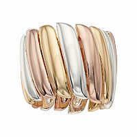Jennifer Lopez Tri Tone Wavy Stretch Ring
