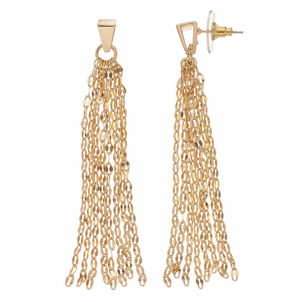 Jennifer Lopez Chain Fringe Drop Earrings