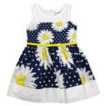 Girls 4-6x Nannette Daisy & Polka-Dot Printed Poplin Dress