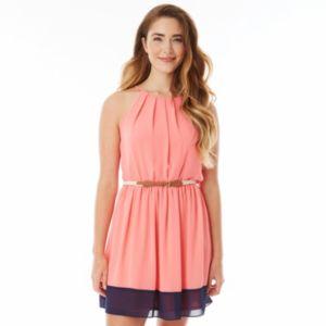 Juniors' IZ Byer California Pintuck Halter Dress