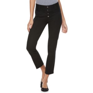 Juniors' Candie's® Button Front Straight-Leg Crop Pants